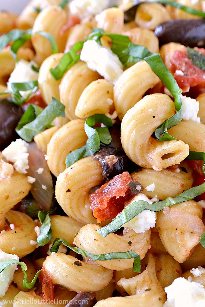 Closeup of Instant Pot Pasta with Feta, Olives, and Basil.