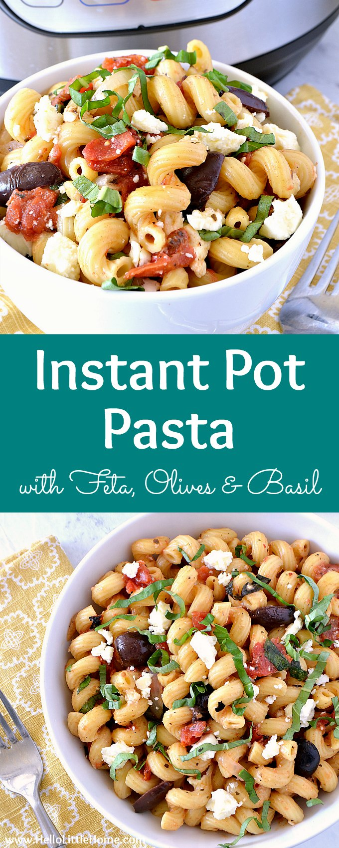 Instant Pot Pasta with Feta, Olives, and Basil! This vegetarian Instant Pot Pasta recipe is simple to make and delicious! Learn how to make Instant Pot Pasta Sauce with tomatoes, feta cheese, Kalamata olives, garlic, and fresh basil. This easy pressure cooker noodle recipe cooks up perfectly al dente for a fast, healthy meatless dinner! Vegan friendly (just skip the feta)! | Hello Little Home #instantpot #instantpotrecipe #instantpotpasta #pressurecooker #vegetarianrecipes #pasta #pastarecipe