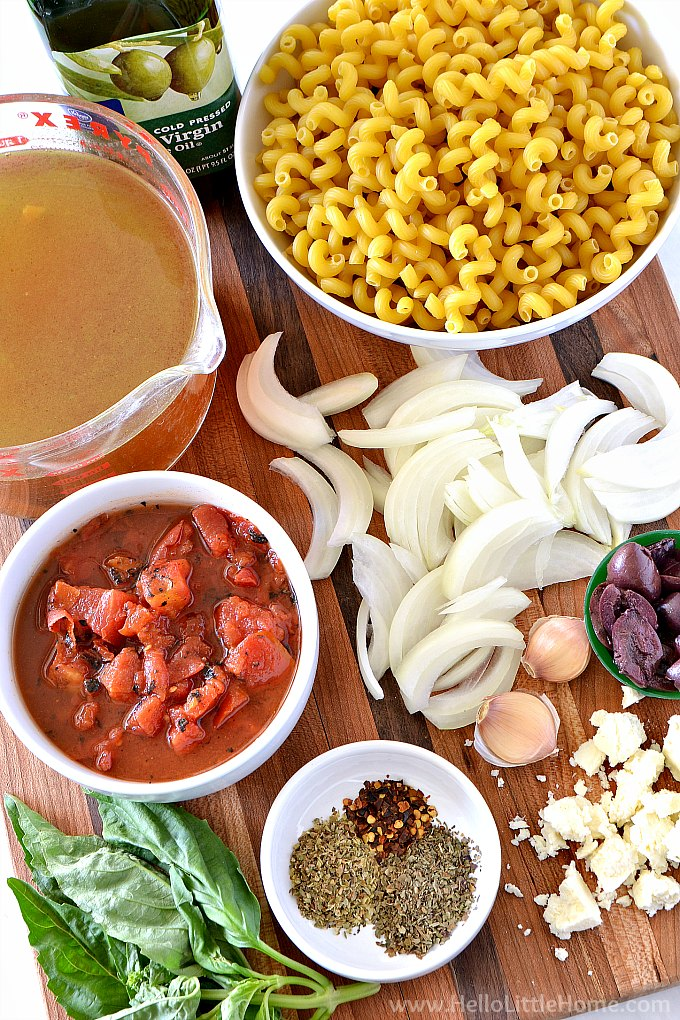 Vegetarian Instant Pot Pasta Ingredients: tomatoes, onions, broth, spices, garlic, basil, and kalamata olives.