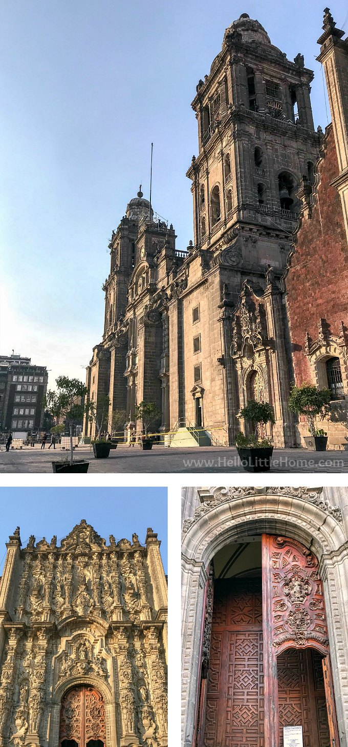 Exterior view of the Metropolitan Cathedral (Catedral Metropolitana) in the historic center of Mexico City.