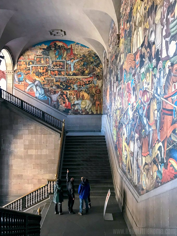 Large staircase with Diego Rivera's History of Mexico mural at the National Palace Mexico City.