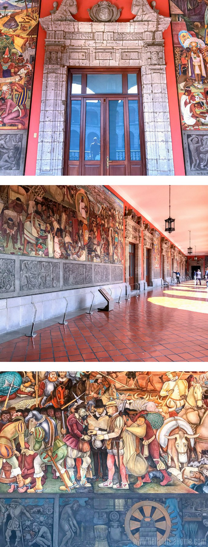 Three different sections of the Diego Rivera murals at Mexico's National Palace