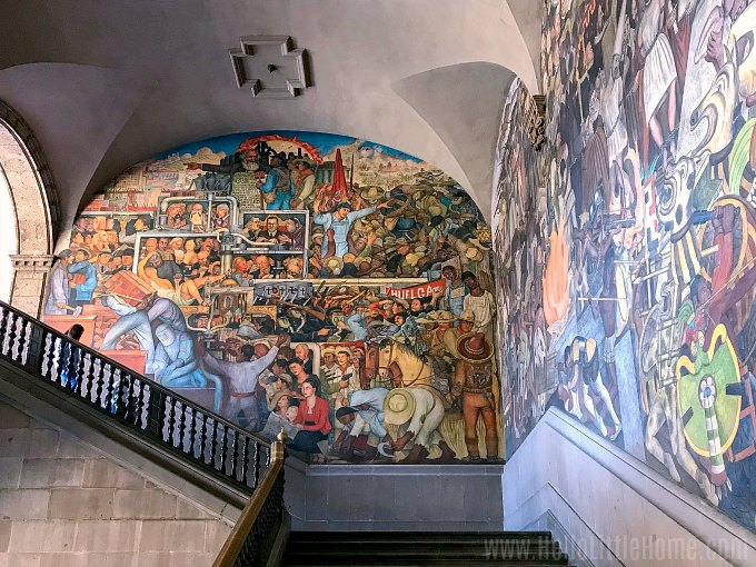 Grand staircase with huge Diego Rivera Murals at the National Palace Mexico City.