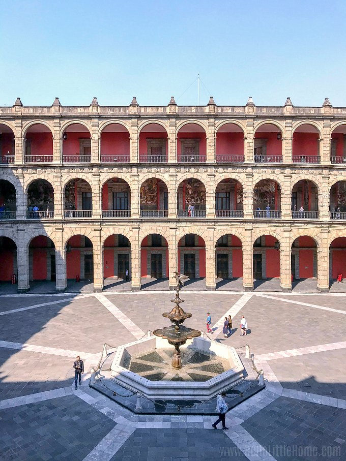 Grand Courtyard with a beautiful fountain at the National Palace Mexico City.