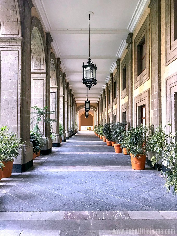 Courtyard walkway at the Nacional Palace in Mexico City.
