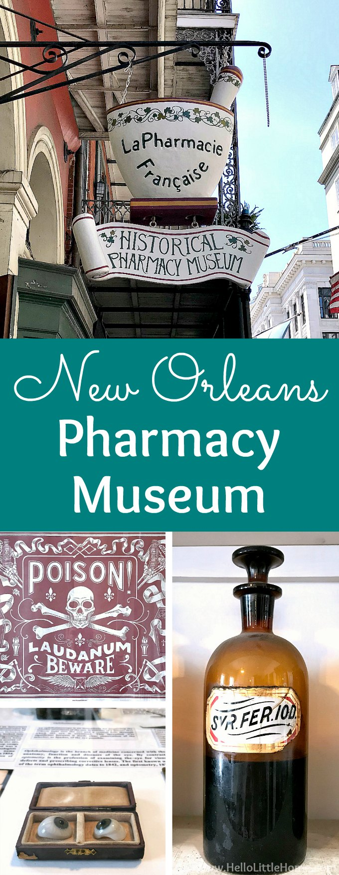 New Orleans Pharmacy Museum … add this New Orleans Museum to your French Quarter bucket list! The New Orleans Pharmacy Museum is one of the best things to do in the French Quarter New Orleans. This one-of-a-kind, historic museum tells the creepy, fascinating history of pharmacy and healthcare in NOLA, and it's one the best museums in New Orleans! | Hello Little Home #neworleans #nola #onetimeinnola #thingstodoinneworleans #pharmacymuseum #neworleansmuseums #frenchquarter #bigeasy #travelnola