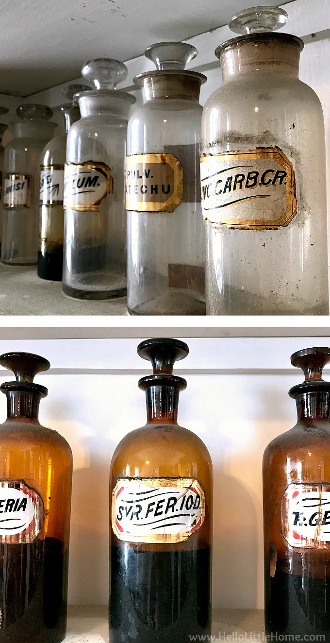 Vintage Glass Bottles on the Shelves at the New Orleans Pharmacy Museum