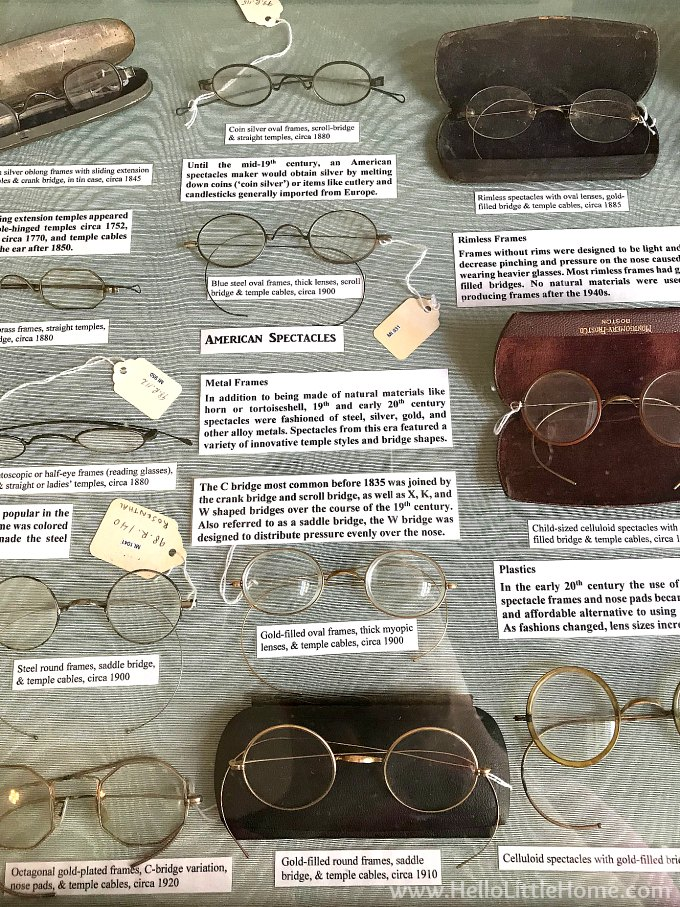 Vintage eye glasses at the New Orleans Pharmacy Museum