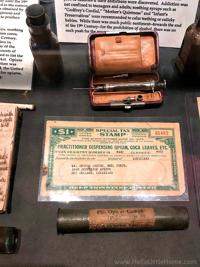 Hypodermic needles and opioids at the New Olreans Pharmacy Museum