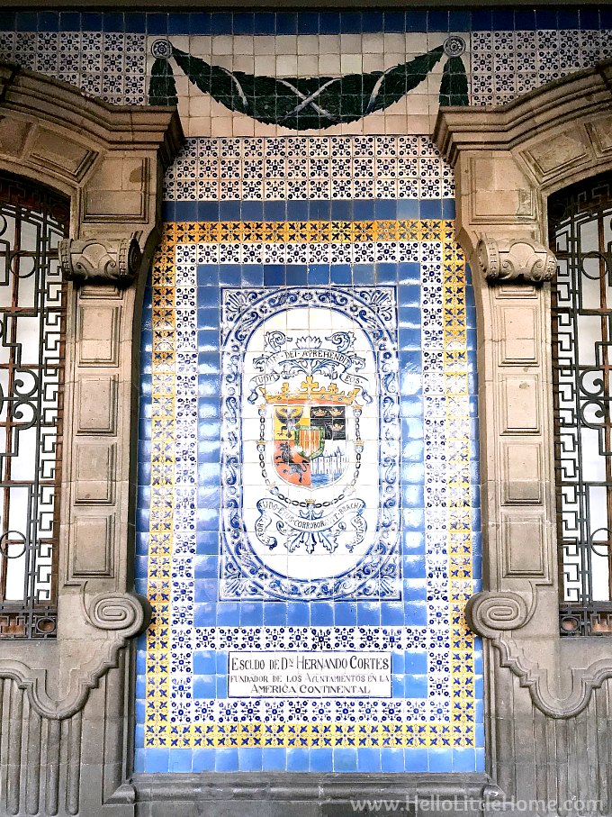 Tile mural on the Old City Hall Buidling in the historic center of Mexico City.