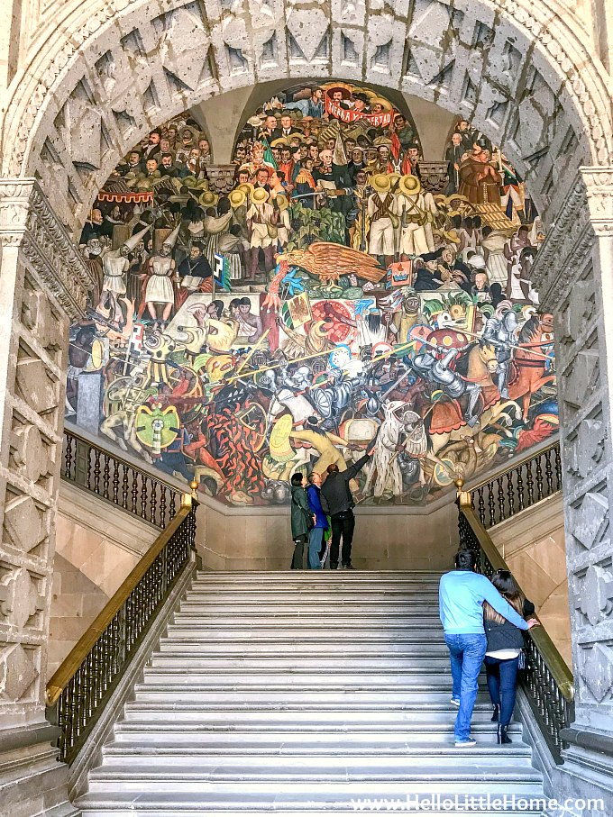 Staircase with massive Diego Rivera Murals at the National Palace Mexico City.