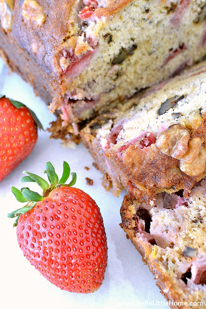 Strawberry Banana Nut Bread with Fresh Strawberries