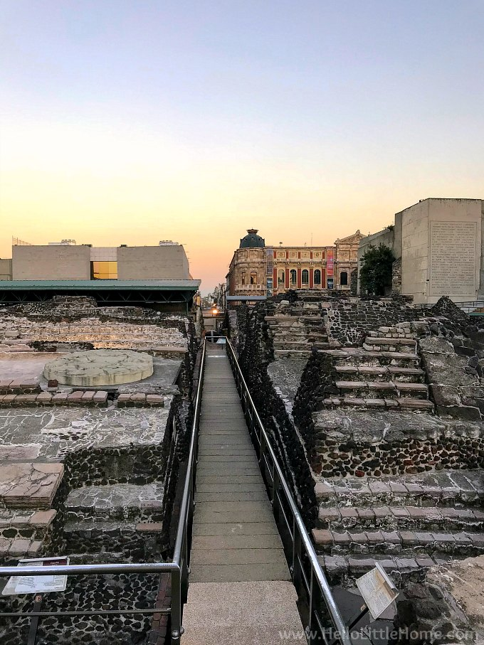 Ruins of Templo Mayor, the main temple of the Aztecs in their capital city of Tenochtitlan.