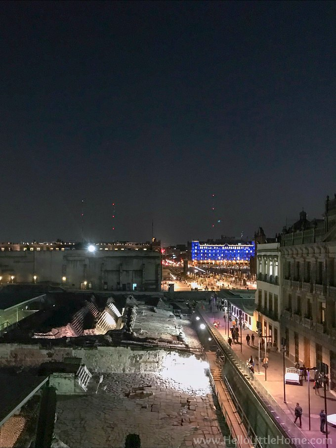 Balcony view of Templo Mayor and the Zocolo at night.