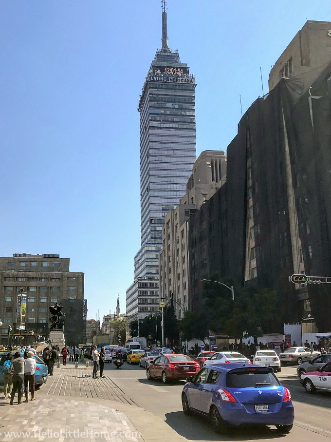 Street View of the Torre Latinoamerica Building in Mexico City's Historic Center