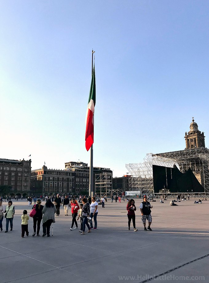 The Zócalo in the historic center of Mexico City. Also known as the Main Square or Arms Square, it's formal name is the Plaza de la Constitución (Constitution Square).