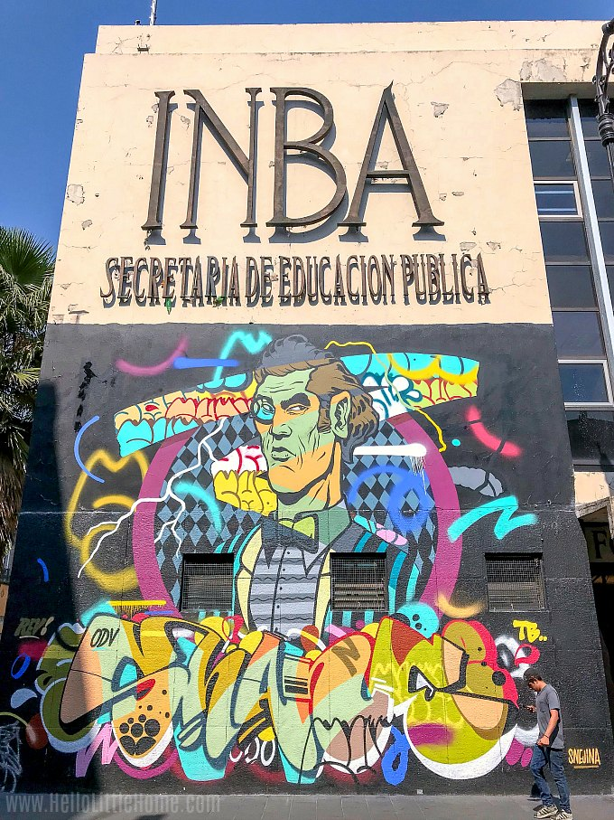 Street art on the Secretaria de Educacion Publica on Calle Regina in Mexico City.