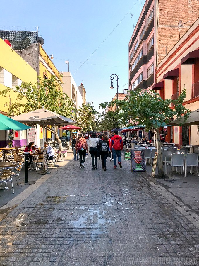 Cafes lining Calle Regina in Mexico City.