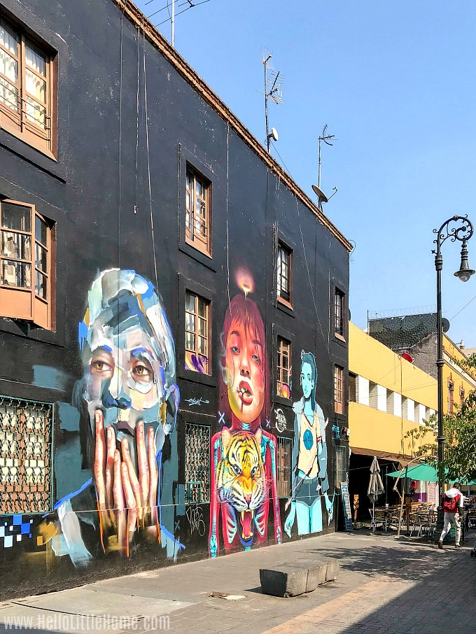 A huge, colorful mural on Calle Regina in Mexico City's Historic Center.