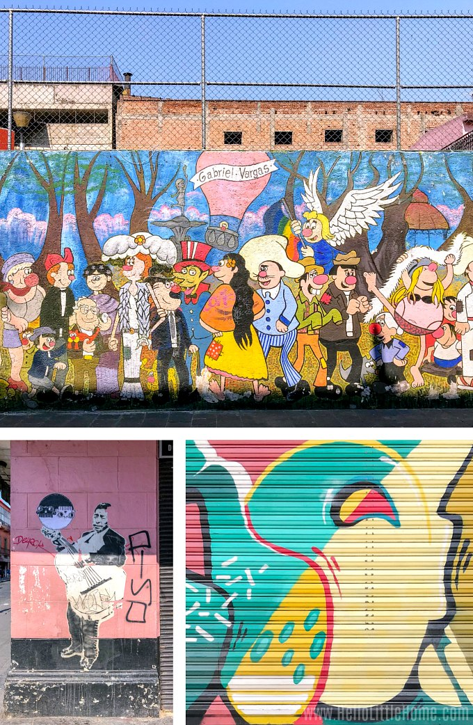 Three different works of street art on Calle Regina in Mexico City.