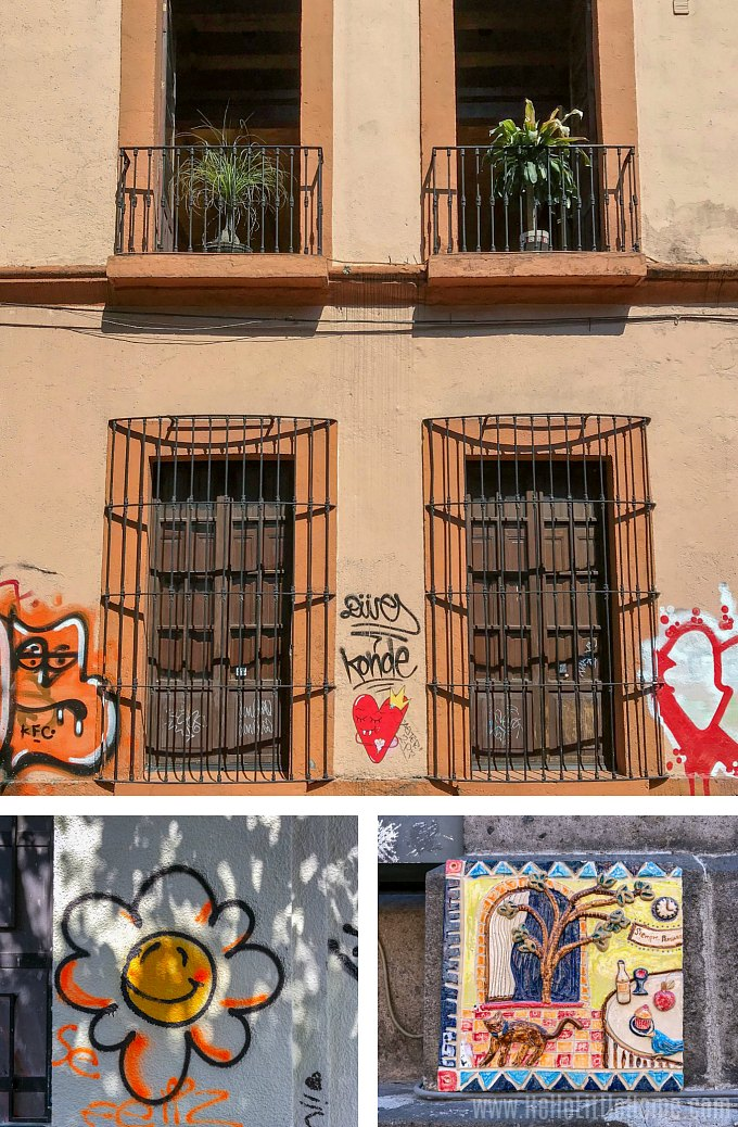 Buildings with street art on Calle Regina in Mexico City.