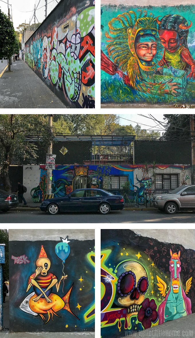 Street art in Coyoacán, one of the best neighborhoods in Mexico City to see murals.