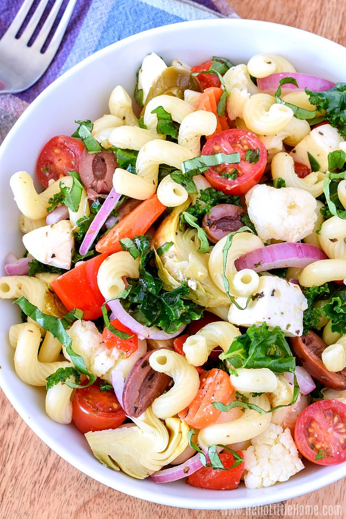 A bowl of Italian Pasta Salad, a cold pasta salad with Italian dressing and antipasto flavors.