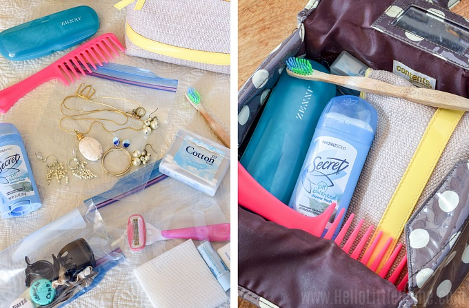 Carry on packing tips: how to pack toiletries.
