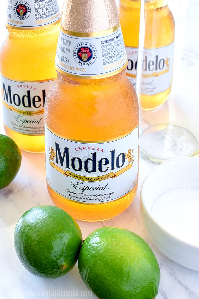 Chelada Recipe Ingredients: Modelo Especial beer, fresh limes, and salt.