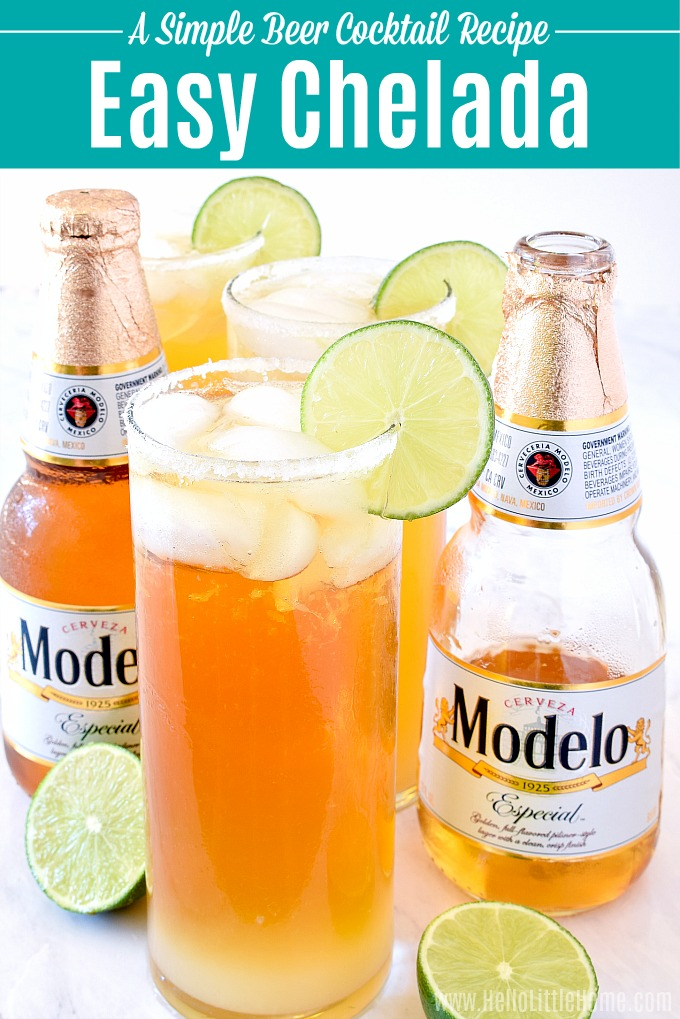 Learn how to make a Chelada! This easy Chelada recipe is a quick beer cocktail (beertail) that's ready in minutes. Make this easy Mexican Beer Cocktail recipe with simple ingredients: beer, lime, and salt! This Chelada recipe is a light, citrusy, refreshing beer drink that's perfect for summer parties or anytime you want an easy drink! | Hello Little Home #chelada #beer #beercocktail #mexicanfood #mexicandrink #mexicanbeercocktail #beerdrink #beertail #summercocktail #partyideas #partyfood