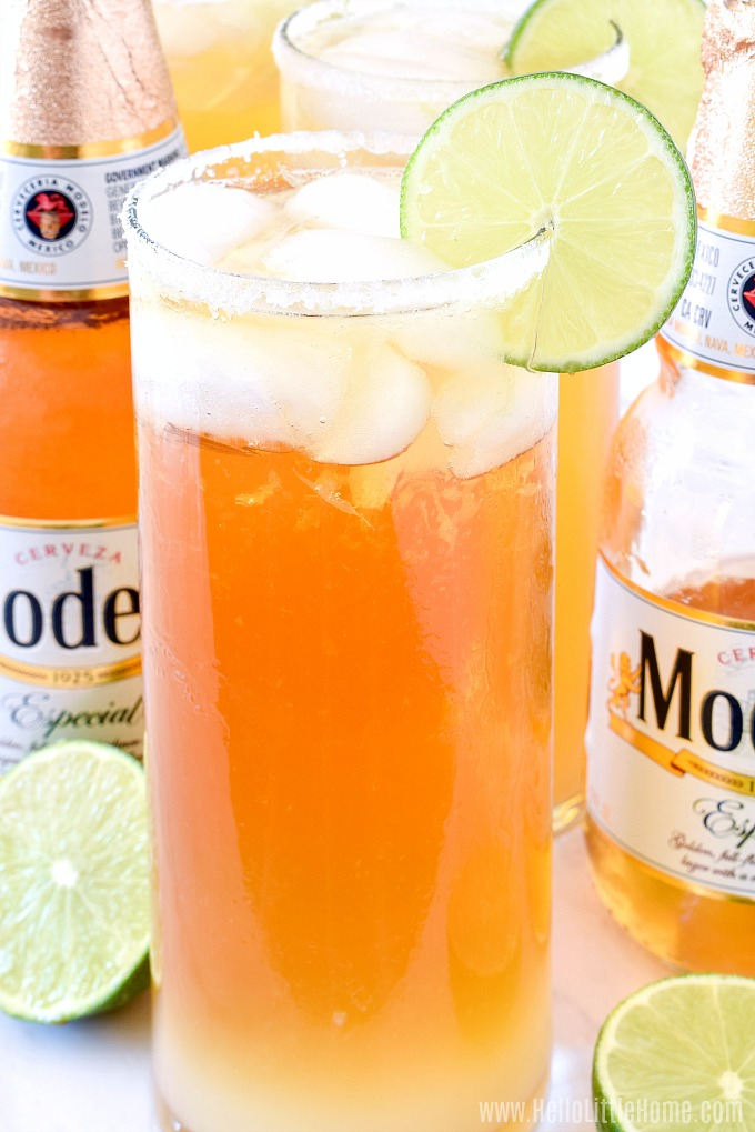 Easy Chelada recipe made with Modelo Especial and lime juice.