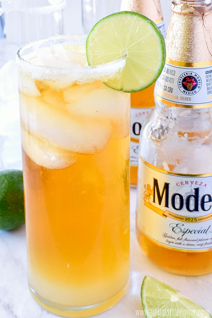 Adding beer to the Chelada Mexican Beer Cocktail.
