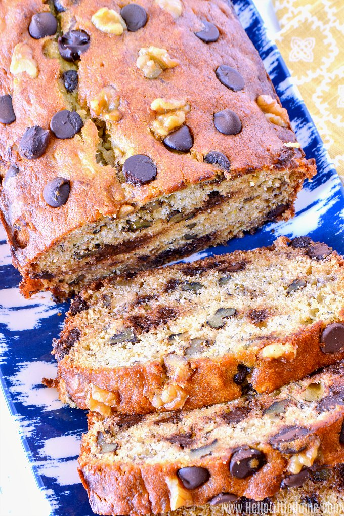 Moist Chocolate Chip Banana Bread slices on a tray.