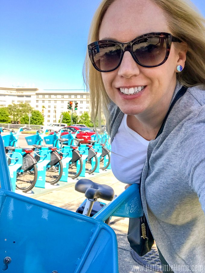 Riding a New Orleans Blue Bike in City Park.