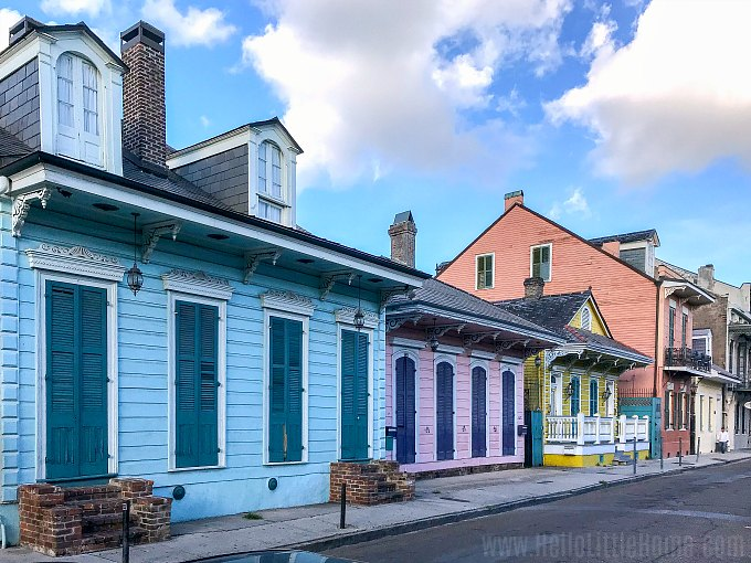 Colorful homes in the French Quarter, New Orleans.
