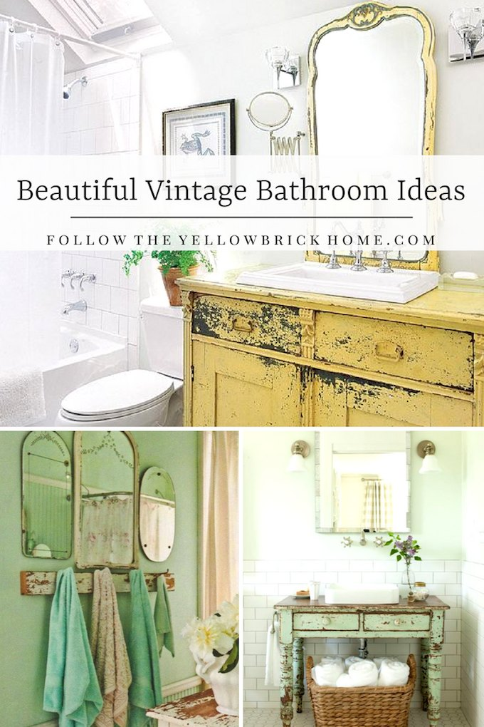 Beautiful Vintage Bathroom Ideas from Follow the Yellow Brick Home