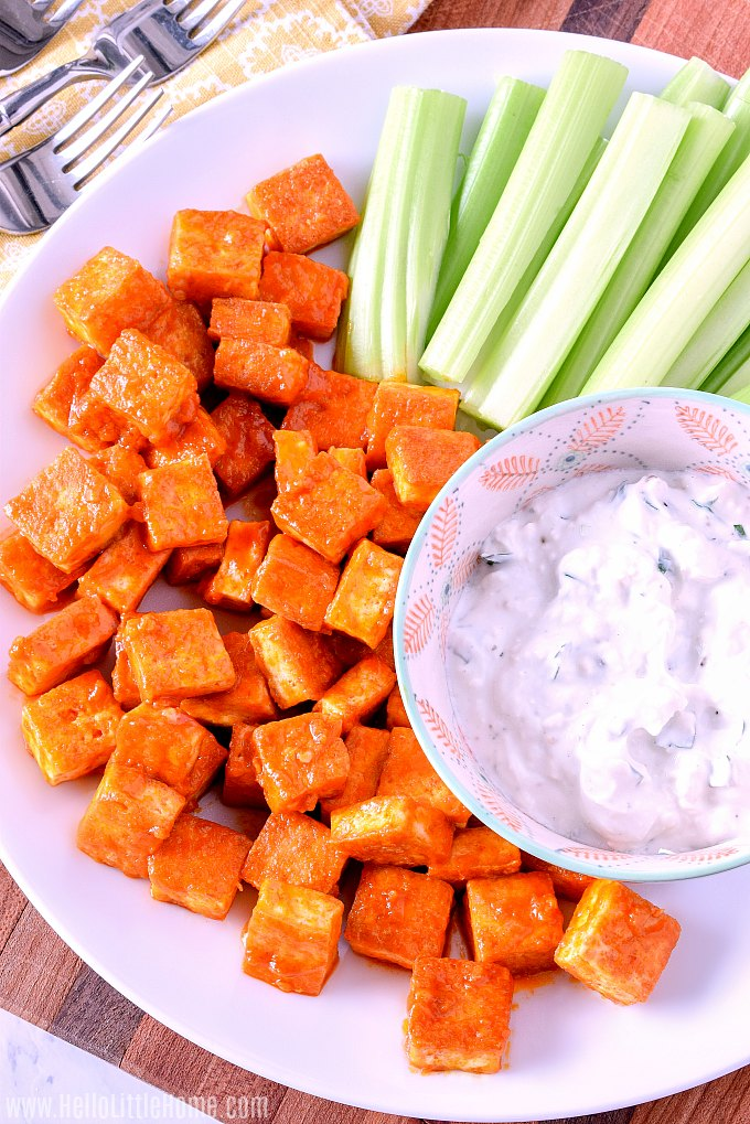 Buffalo Tofu Bites With Blue Cheese Dip Hello Little Home