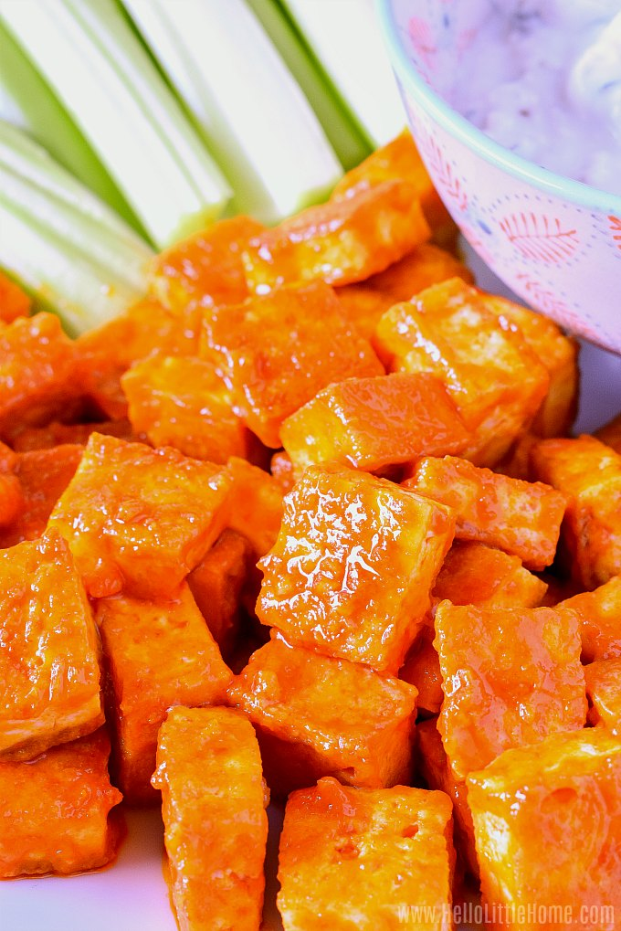 Golden fried tofu tossed with spicy buffalo sauce.