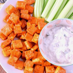 Buffalo Tofu with Blue Cheese Dip