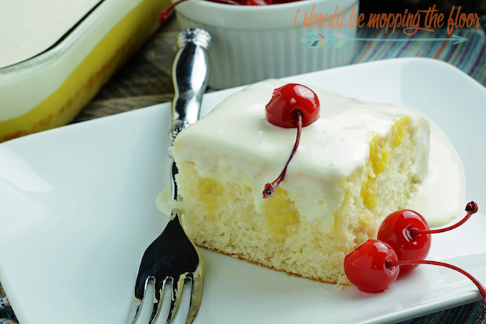 Dole Whip Poke Cake from I Should Be Mopping the Floor