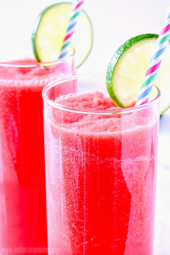 Fresh Watermelon Juice recipe, served in a glass with lime slices.