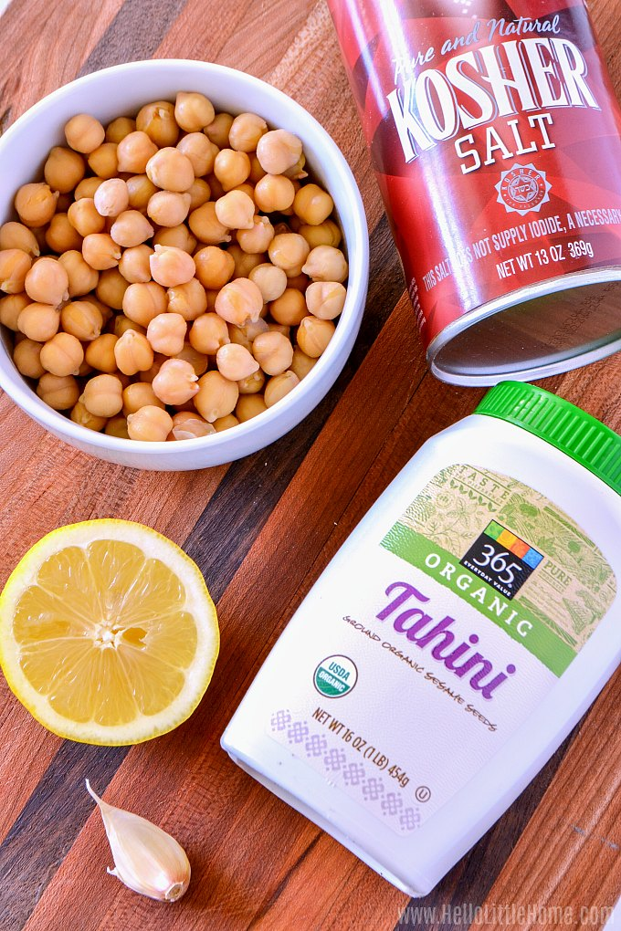 Hummus ingredients: chickpeas (garbanzo beans), tahini, lemon juice, garlic, and salt.