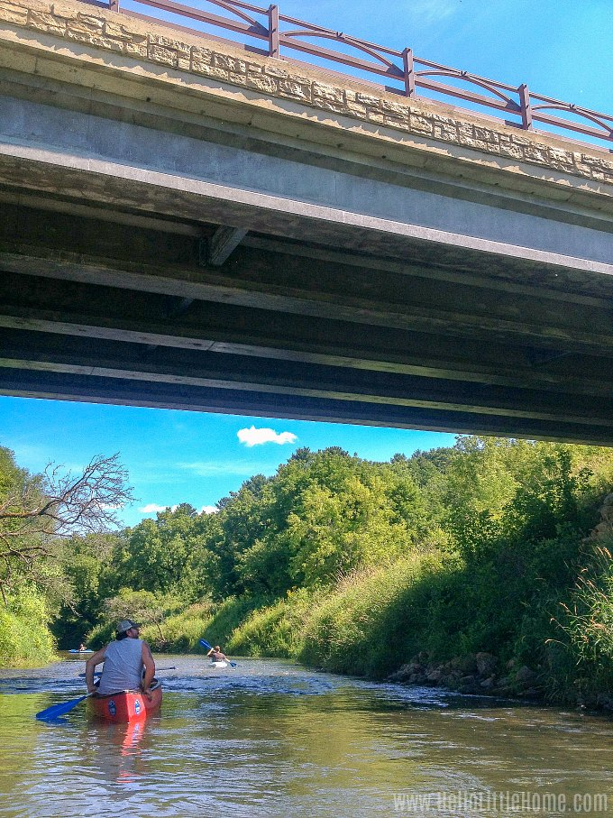Going under a bridge while canoeing the Kickapoo River.