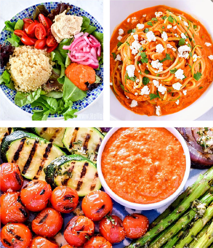 A photo collage showing different ways to use Romesco Sauce.