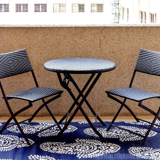 A table and chairs perfect for a small patio.