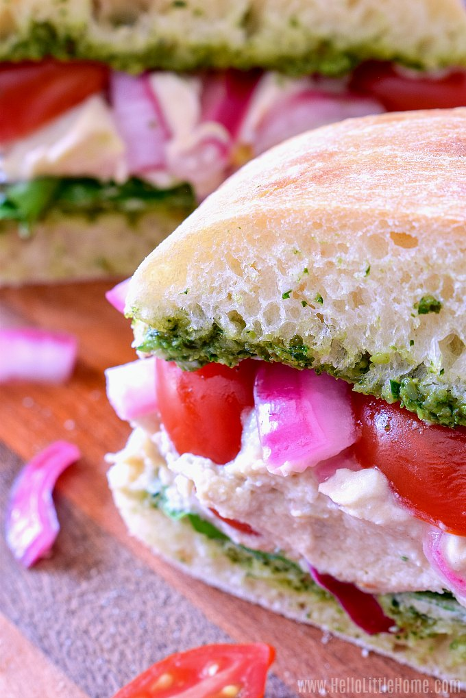 A Veggie, Pesto, and Hummus Sandwich