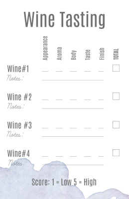 Wine Tasting Score Card - Free Printable