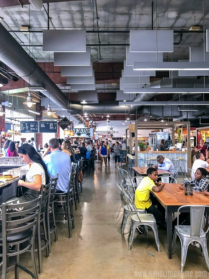 People eating in the 7th Street Public Market in Downtown Charlotte.
