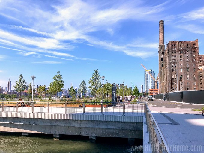 A view of Domino Park, Brooklyn, taken near the Williamsburg Bridge.