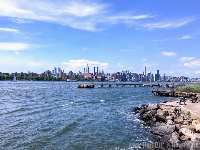Amazing views of the East River and Manhattan from Domino Park Brooklyn.